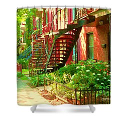 Verdun Stairs Winding Staircases And Fenced Flower Garden Montreal Summer Scene Carole Spandau Shower Curtain by Carole Spandau
