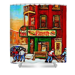 Verdun Street Hockey Pierrettes Restaurant Rue 3900 Verdun -landmark Montreal Hockey Art Work Scenes Shower Curtain by Carole Spandau