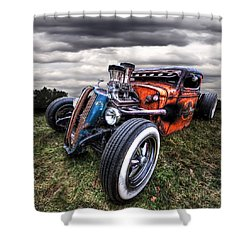 Vermin's Diner Rat Rod Front Shower Curtain by Gill Billington