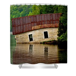 Shower Curtain featuring the photograph Vermont Boathouse by John Haldane