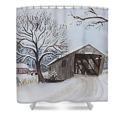 Shower Curtain featuring the painting Vermont Covered Bridge In Winter by Donna Walsh