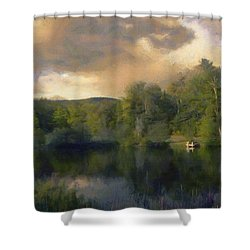 Shower Curtain featuring the painting Vermont Morning Reflection by Jeff Kolker