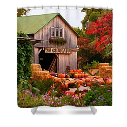 Shower Curtain featuring the photograph Vermont Pumpkins And Autumn Flowers by Jeff Folger
