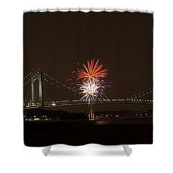 Verrazano Narrows Bridge Fireworks Shower Curtain