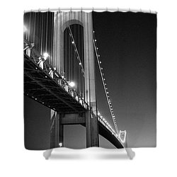 Shower Curtain featuring the photograph Verrazano Bridge At Night - Black And White by Gary Heller