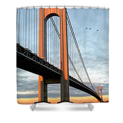 Shower Curtain featuring the photograph Verrazano Bridge At Sunrise - Verrazano Narrows by Gary Heller