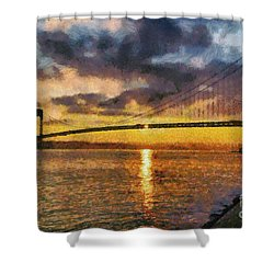 Verrazano Bridge During Sunset Shower Curtain