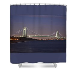 Verrazano Narrows Bridge At Night Shower Curtain