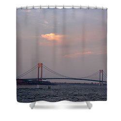 Verrazano Narrows Bridge At Sunset Shower Curtain
