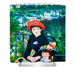 Version Of Renoir's Two Sisters On The Terrace Shower Curtain by Lorna Maza