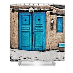 Very Blue Door Shower Curtain