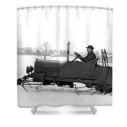 Very Early Snowmobile Shower Curtain by Underwood Archives