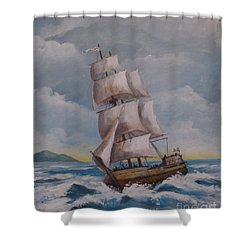 Vessel In The Sea Shower Curtain