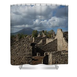 Vesuvius Towering Over The Pompeii Ruins Shower Curtain