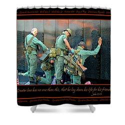 Veterans At Vietnam Wall Shower Curtain by Carolyn Marshall