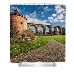 Viaduct Ty Mawr Park Shower Curtain by Adrian Evans