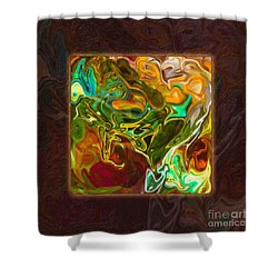 Shower Curtain featuring the painting Vibrant Fall Colors An Abstract Painting by Omaste Witkowski