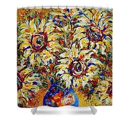 Shower Curtain featuring the painting Vibrant Sunflower Essence by Natalie Holland
