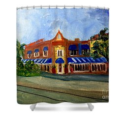 Vic And Angelos In Downtown Delray Beach Shower Curtain by Donna Walsh