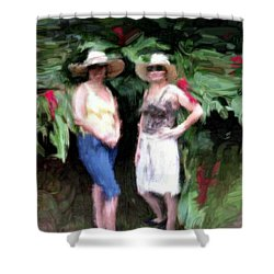 Shower Curtain featuring the painting Victoria And Friend by Bruce Nutting