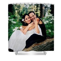 Victoria And Her Man Of God Shower Curtain