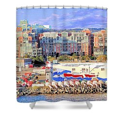 Victoria Bc Canada Harbor Shower Curtain by Janette Boyd