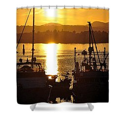 Shower Curtain featuring the digital art Victoria Harbor Sunset 2 by Kirt Tisdale