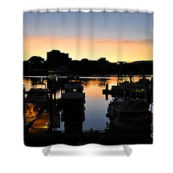Shower Curtain featuring the digital art Victoria Harbor Sunset 3 by Kirt Tisdale