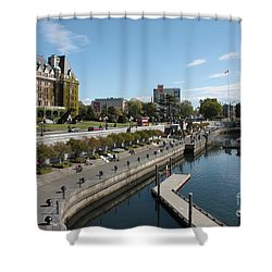 Victoria Harbour With Empress Hotel Shower Curtain by Carol Groenen
