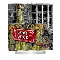 Victorian Boat Dock Sign Shower Curtain by Adrian Evans