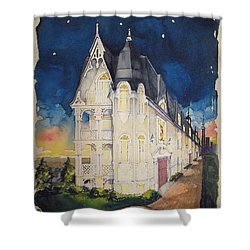 The Victorian Apartment Building By Rjfxx. Original Watercolor Painting. Shower Curtain by RjFxx at beautifullart com