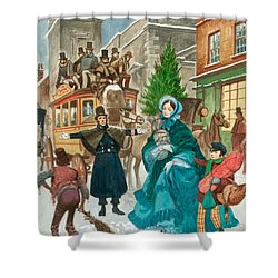 Victorian Christmas Scene Shower Curtain by Peter Jackson
