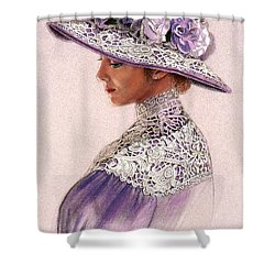 Victorian Lady In Lavender Lace Shower Curtain