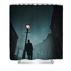 Victorian Man With Top Hat Leaning On A Street Light Shower Curtain by Lee Avison