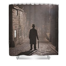 Victorian Man With Top Hat On A Cobbled Street At Night In Fog Shower Curtain by Lee Avison