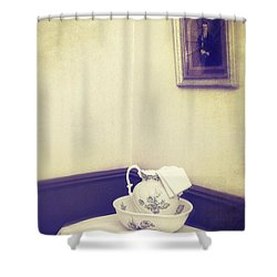 Victorian Wash Basin And Jug Shower Curtain by Amanda Elwell