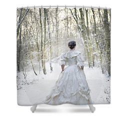 Victorian Woman Running Through A Winter Woodland With Fallen Sn Shower Curtain by Lee Avison
