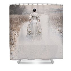 Victorian Woman Walking Through A Winter Meadow Shower Curtain by Lee Avison