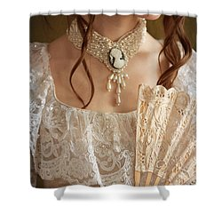 Victorian Woman With A Fan Shower Curtain by Lee Avison