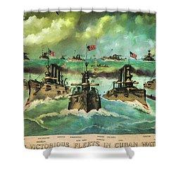 Victorious Navy - 1898 Shower Curtain by Lianne Schneider