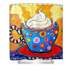Viennese Cappuccino Whimsical Colorful Coffee Cup Shower Curtain by Ana Maria Edulescu