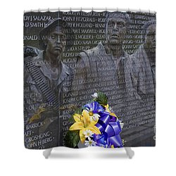 Vietnam Veteran Wall And Three Soldiers Memorial Collage Washington Dc_2 Shower Curtain