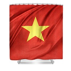 Vietnamese Flag Shower Curtain by Les Cunliffe