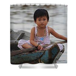 Vietnamese Girl On Lake Tonle Sap Shower Curtain