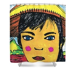 Shower Curtain featuring the drawing Vietnamese Girl  With Blue Eyes by Don Koester