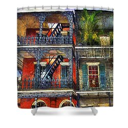Shower Curtain featuring the photograph Vieux Carre' Balconies by Tammy Wetzel