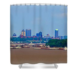 View From A Far St. Louis Downtown Shower Curtain by Peggy Franz