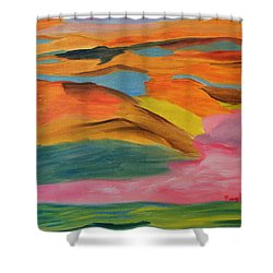 Shower Curtain featuring the painting View From Above by Meryl Goudey