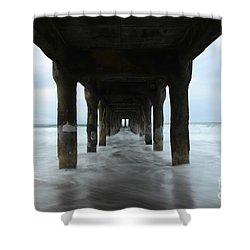 View From Below Manhattan Beach Pier Shower Curtain by Bob Christopher