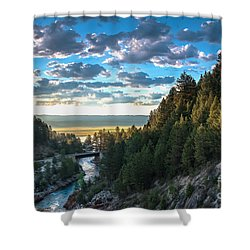 View From Cascade Dam Of The North Fork Of The Payette River Shower Curtain by Robert Bales